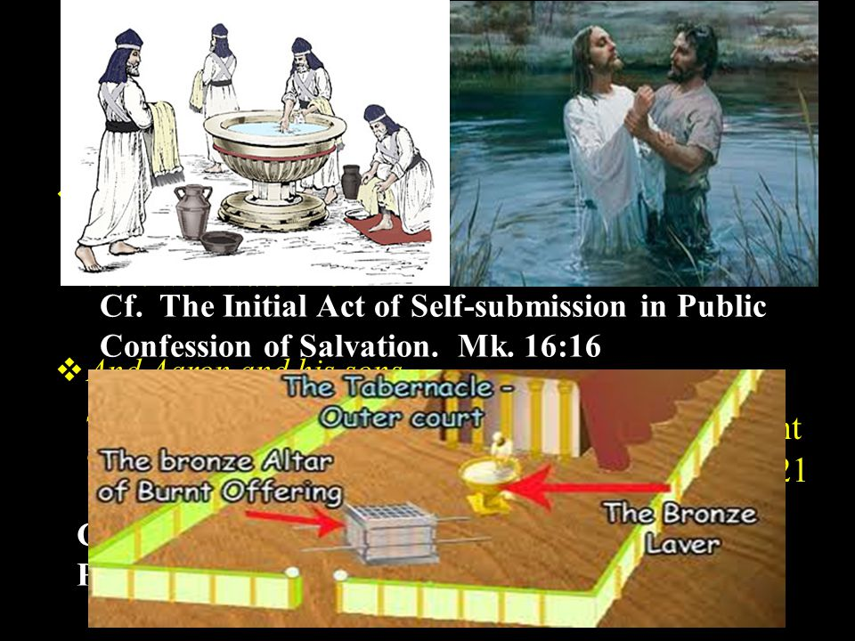 3.Their Public Cleansing.Lev. 8:3-6 a. They were to be Washed by Moses.