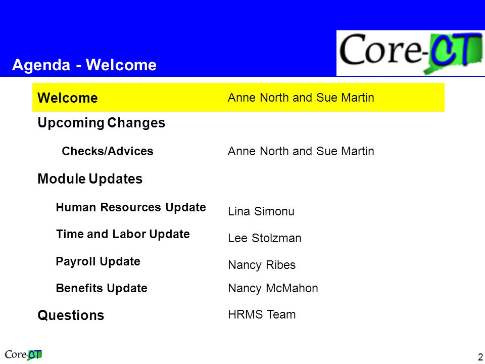 2 Welcome Anne North and Sue Martin Upcoming Changes Checks/AdvicesAnne North and Sue Martin Module Updates Human Resources Update Lina Simonu Time and Labor Update Lee Stolzman Payroll Update Nancy Ribes Benefits UpdateNancy McMahon Questions HRMS Team Agenda - Welcome
