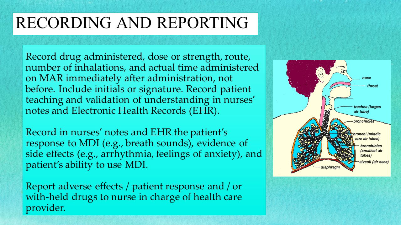 Record drug administered, dose or strength, route, number of inhalations, and actual time administered on MAR immediately after administration, not be