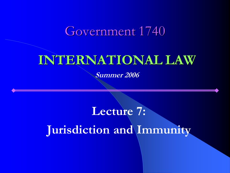 OUTLINE I.The general issue II. Types of jurisdiction A.