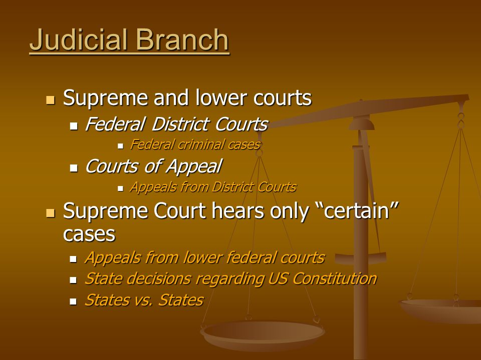 Judicial Branch Supreme and lower courts Supreme and lower courts Federal District Courts Federal District Courts Federal criminal cases Federal criminal cases Courts of Appeal Courts of Appeal Appeals from District Courts Appeals from District Courts Supreme Court hears only certain cases Supreme Court hears only certain cases Appeals from lower federal courts Appeals from lower federal courts State decisions regarding US Constitution State decisions regarding US Constitution States vs.
