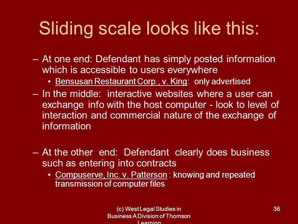 (c) West Legal Studies in Business A Division of Thomson Learning 36 Sliding scale looks like this: –At one end: Defendant has simply posted information which is accessible to users everywhere Bensusan Restaurant Corp., v.