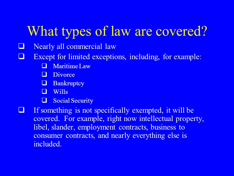 What types of law are covered.
