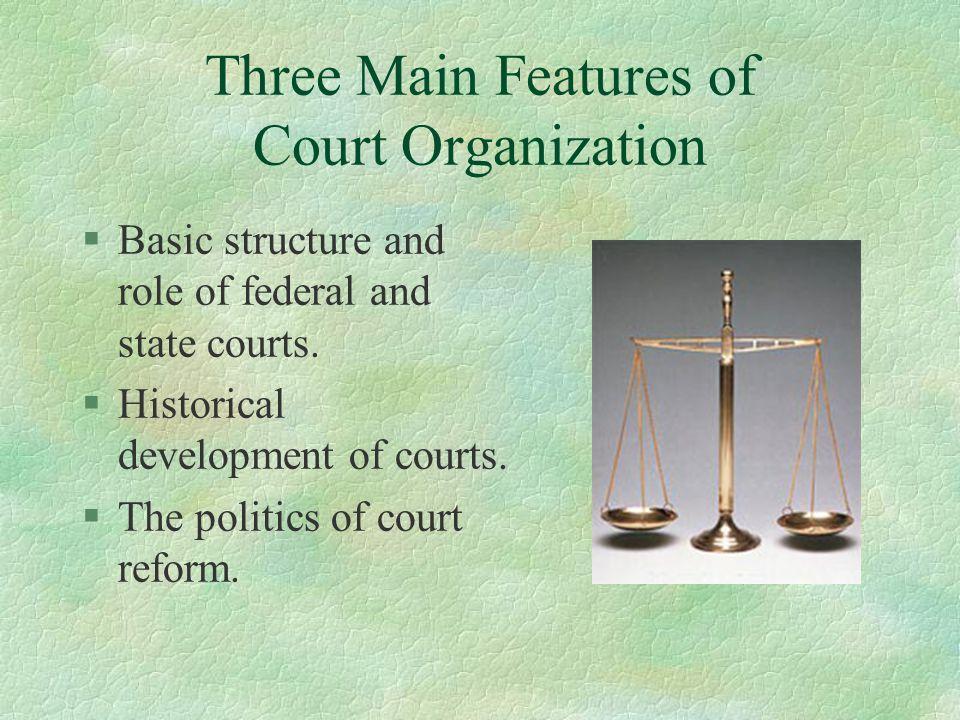 Federal District Courts: Recent Statistics §Civil Cases Filed: l 1999: 260,271 l 2004: 281,338 l 2007: 257,507 l 2008: 267,257 §Criminal Cases Filed: l 1999: 59,923 l 2004: 71,022 l 2007: 68,413 l 2008: 70,896 §U.S.