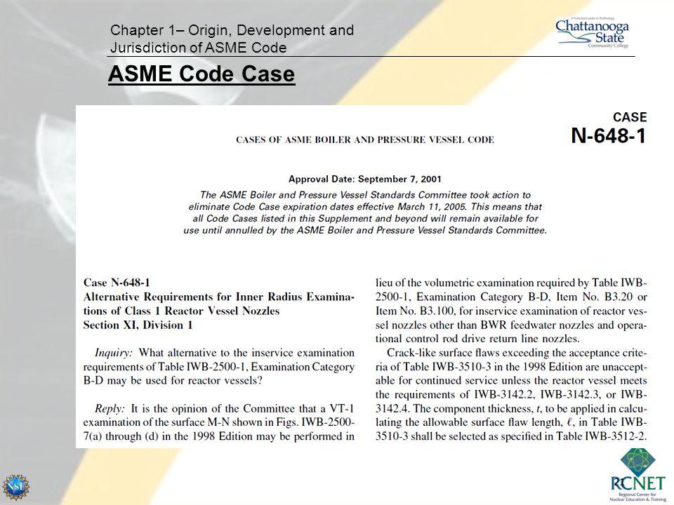 21 Chapter 1– Origin, Development and Jurisdiction of ASME Code ASME Code Case