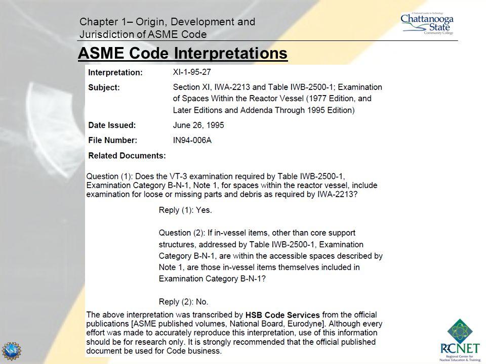 22 Chapter 1– Origin, Development and Jurisdiction of ASME Code ASME Code Interpretations