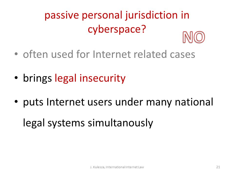 passive personal jurisdiction in cyberspace.