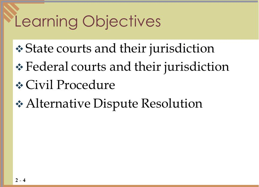  The United States has a federal court system and each state has a court system  A Court is established by a government to hear and decide matters before it and redress past or prevent future wrongs  Jurisdiction (the power to hear and speak) may be original (trial) or appellate (reviews trial court) The U.S.