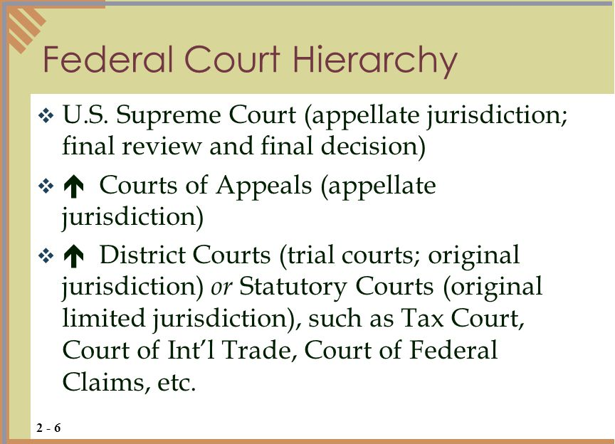  State Supreme Court (final appellate)   State Civil Court of Appeals and State Criminal Court of Appeals   District Courts (trial courts for civil matters over certain $ amount) and Criminal Courts   County Courts (trial courts for civil matters under certain $ amount)   Justice of the Peace Courts (small claims and misdemeanor courts)  Limited Jurisdiction Courts (i.e., family, probate, traffic, zoning) State Court Hierarchy 2 - 7