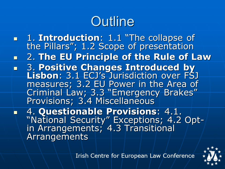 Irish Centre for European Law Conference NEW Title V TFEU: AREA OF FSJ [All fields under current Titles IV TEC and VI TEU will, from the date of entry into force of Lisbon, come into this new Title] [All fields under current Titles IV TEC and VI TEU will, from the date of entry into force of Lisbon, come into this new Title] Title V contains the following Chapters: Title V contains the following Chapters: - Chap.