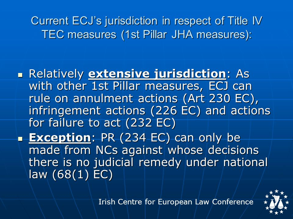 Irish Centre for European Law Conference Current ECJ's jurisdiction in respect of Title IV TEC measures (1st Pillar JHA measures): Relatively extensive jurisdiction: As with other 1st Pillar measures, ECJ can rule on annulment actions (Art 230 EC), infringement actions (226 EC) and actions for failure to act (232 EC) Relatively extensive jurisdiction: As with other 1st Pillar measures, ECJ can rule on annulment actions (Art 230 EC), infringement actions (226 EC) and actions for failure to act (232 EC) Exception: PR (234 EC) can only be made from NCs against whose decisions there is no judicial remedy under national law (68(1) EC) Exception: PR (234 EC) can only be made from NCs against whose decisions there is no judicial remedy under national law (68(1) EC)