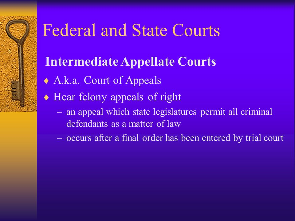 Federal and State Courts  A.k.a.