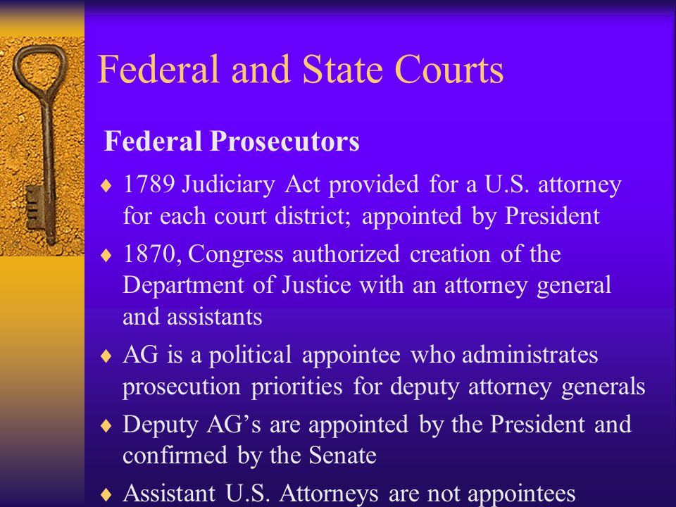 Federal and State Courts  1789 Judiciary Act provided for a U.S.