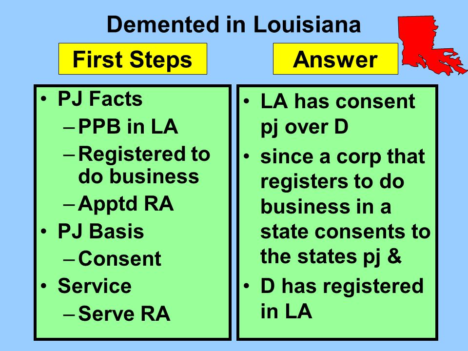 Demented in Louisiana PJ Facts –PPB in LA –Registered to do business –Apptd RA PJ Basis –Consent Service –Serve RA LA has consent pj over D since a co