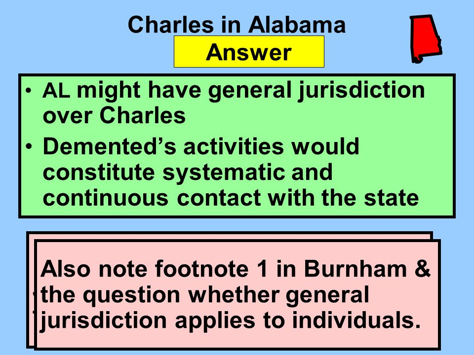 Charles in Alabama Answer AL might have general jurisdiction over Charles Demented's activities would constitute systematic and continuous contact wit