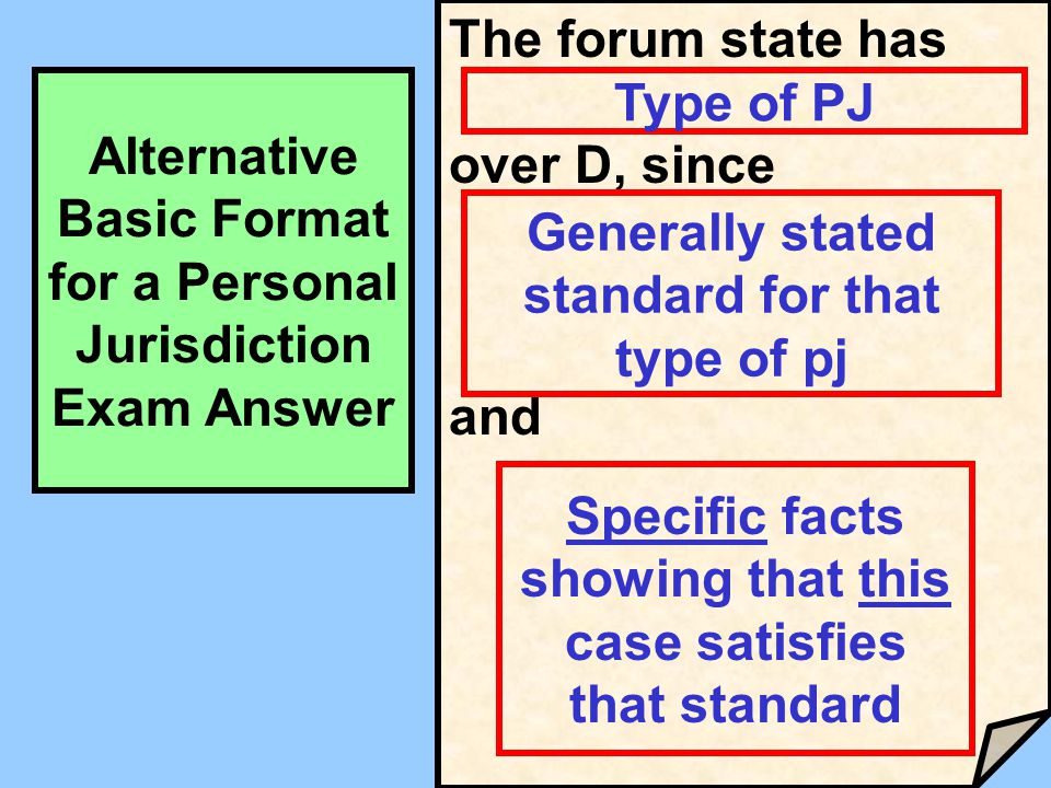 The forum state has over D, since and Type of PJ Generally stated standard for that type of pj Specific facts showing that this case satisfies that st