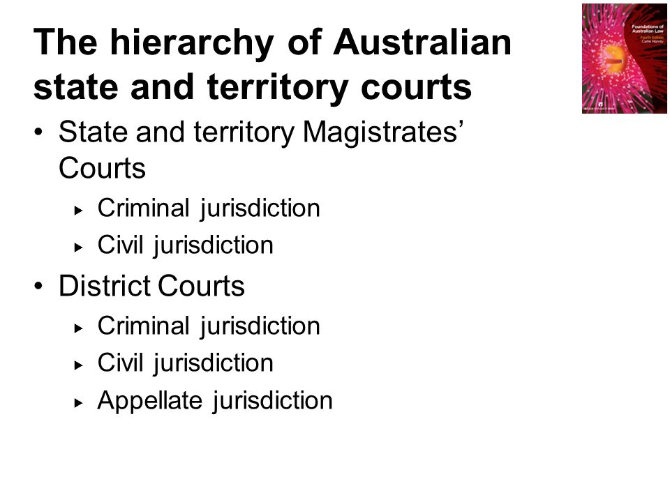 State and territory Magistrates' Courts  Criminal jurisdiction  Civil jurisdiction District Courts  Criminal jurisdiction  Civil jurisdiction  Appellate jurisdiction The hierarchy of Australian state and territory courts