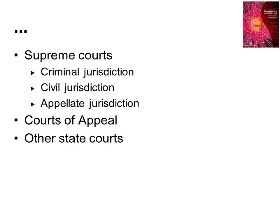 Supreme courts  Criminal jurisdiction  Civil jurisdiction  Appellate jurisdiction Courts of Appeal Other state courts...