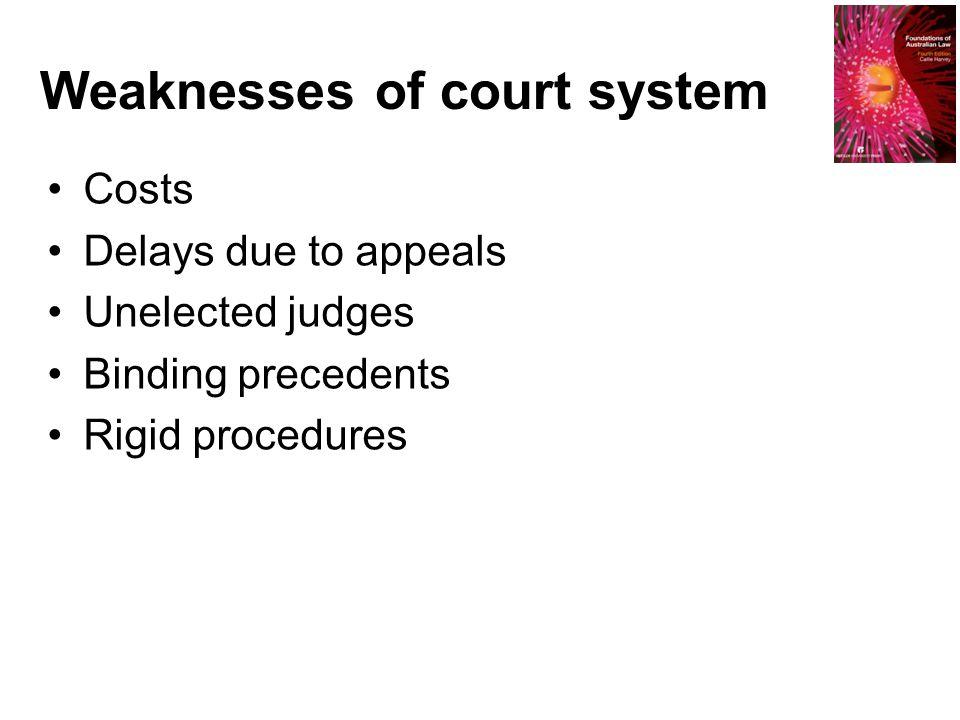 Weaknesses of court system Costs Delays due to appeals Unelected judges Binding precedents Rigid procedures
