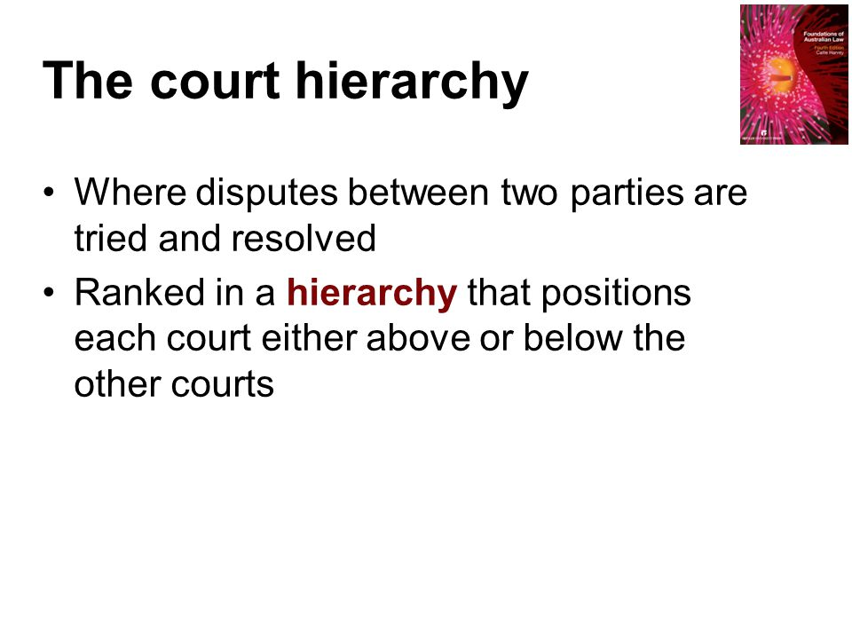 The court hierarchy Where disputes between two parties are tried and resolved Ranked in a hierarchy that positions each court either above or below th