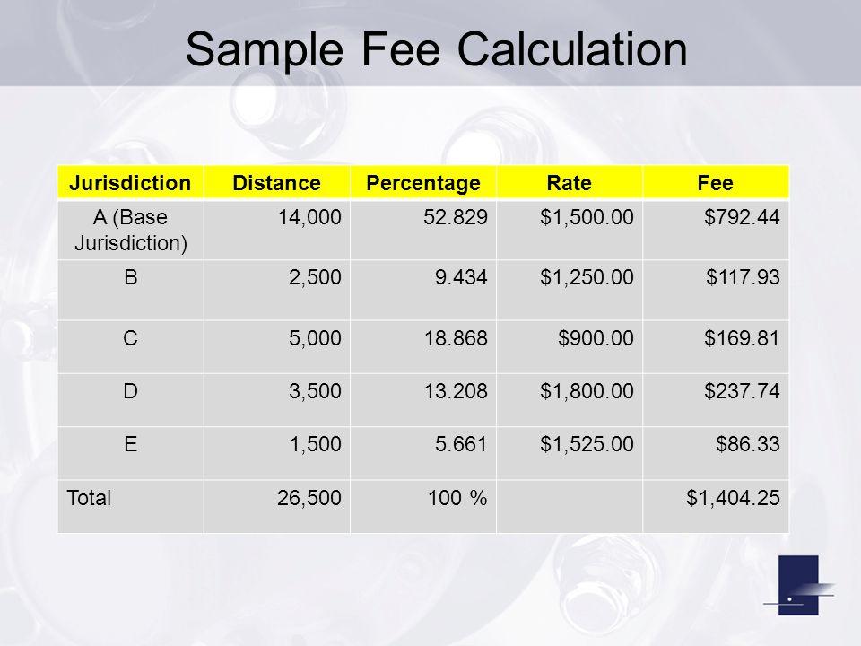 Sample Fee Calculation JurisdictionDistancePercentageRateFee A (Base Jurisdiction) 14,00052.829$1,500.00$792.44 B2,5009.434$1,250.00$117.93 C5,00018.8