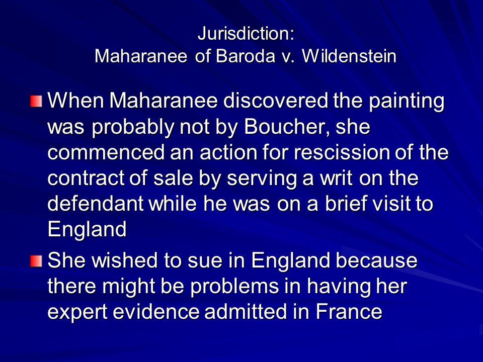 Jurisdiction: Maharanee of Baroda v.