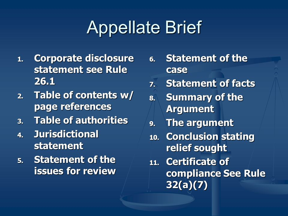 What's in it/What Order Look at the Rules Look at the Rules Fed. R. App. P. 28 Fed. R. App. P. 28 The appellant's brief must contain, under appropriat