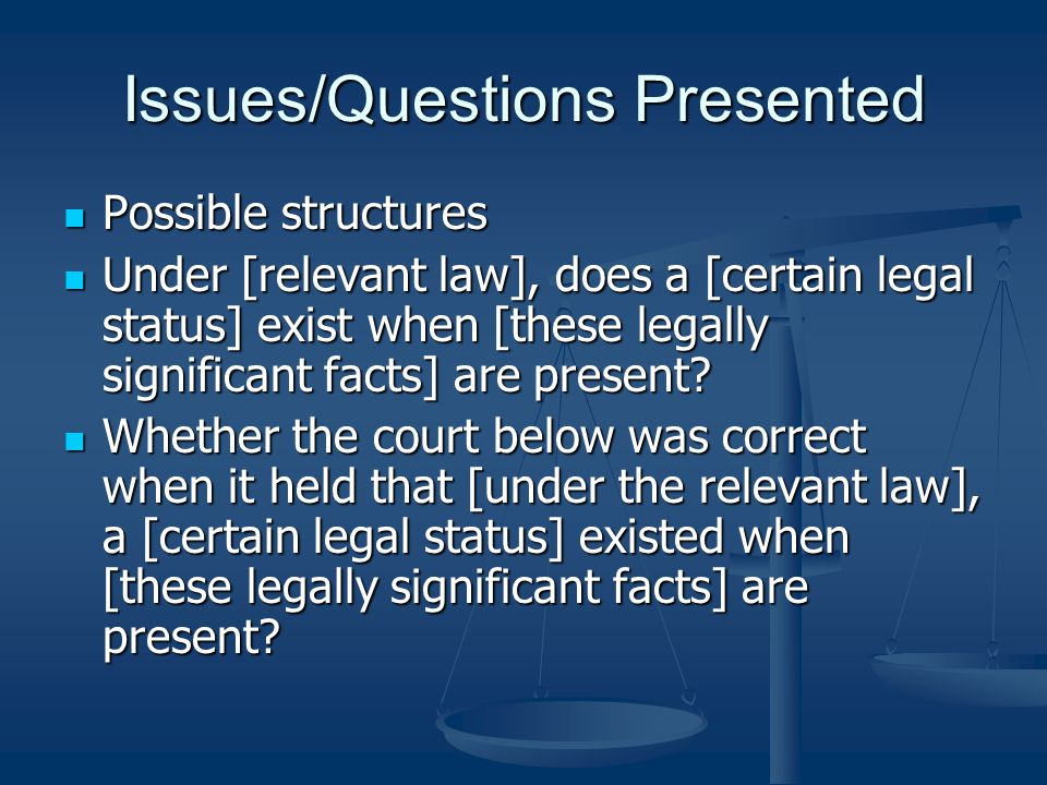 Statement of the Issues The statement of the issues should concisely state each issue or question presented for review by the appellate court.