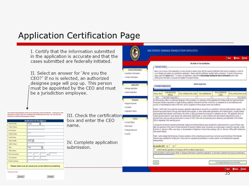 35 Application Certification Page I.