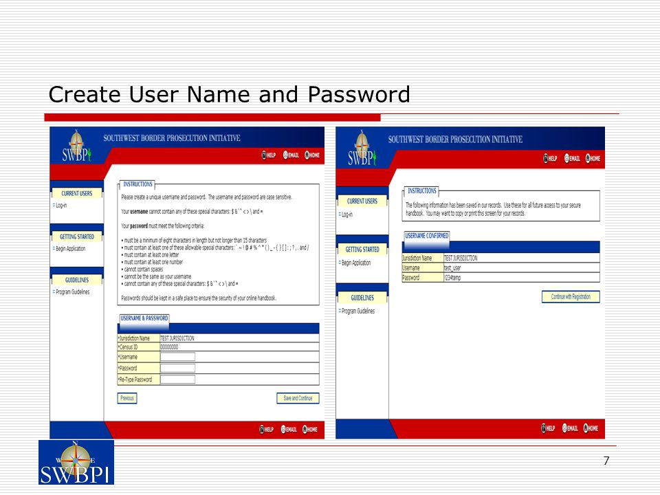 7 Create User Name and Password