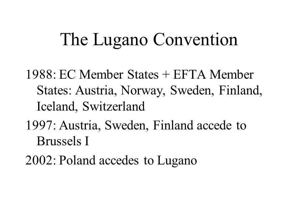 The Lugano Convention 1988: EC Member States + EFTA Member States: Austria, Norway, Sweden, Finland, Iceland, Switzerland 1997: Austria, Sweden, Finland accede to Brussels I 2002: Poland accedes to Lugano