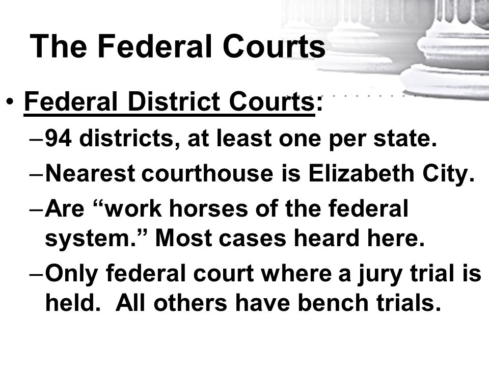 "The Federal Courts Federal District Courts: –94 districts, at least one per state. –Nearest courthouse is Elizabeth City. –Are ""work horses of the fed"