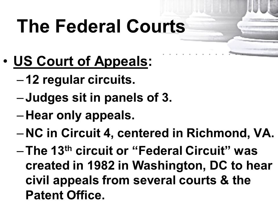 The Federal Courts US Court of Appeals: –12 regular circuits. –Judges sit in panels of 3. –Hear only appeals. –NC in Circuit 4, centered in Richmond,