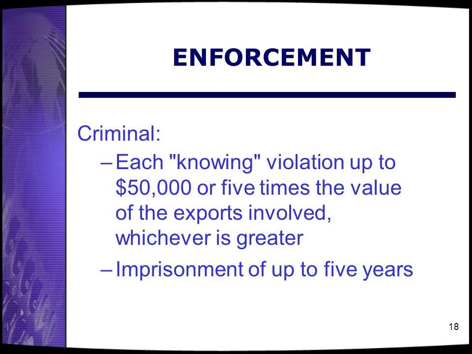 18 ENFORCEMENT Criminal: –Each