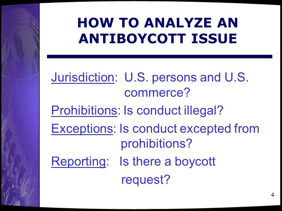 4 HOW TO ANALYZE AN ANTIBOYCOTT ISSUE Jurisdiction: U.S.