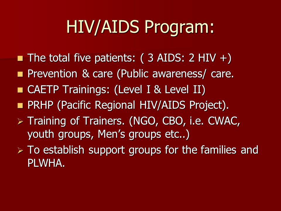 HIV/AIDS Program: The total five patients: ( 3 AIDS: 2 HIV +) The total five patients: ( 3 AIDS: 2 HIV +) Prevention & care (Public awareness/ care.