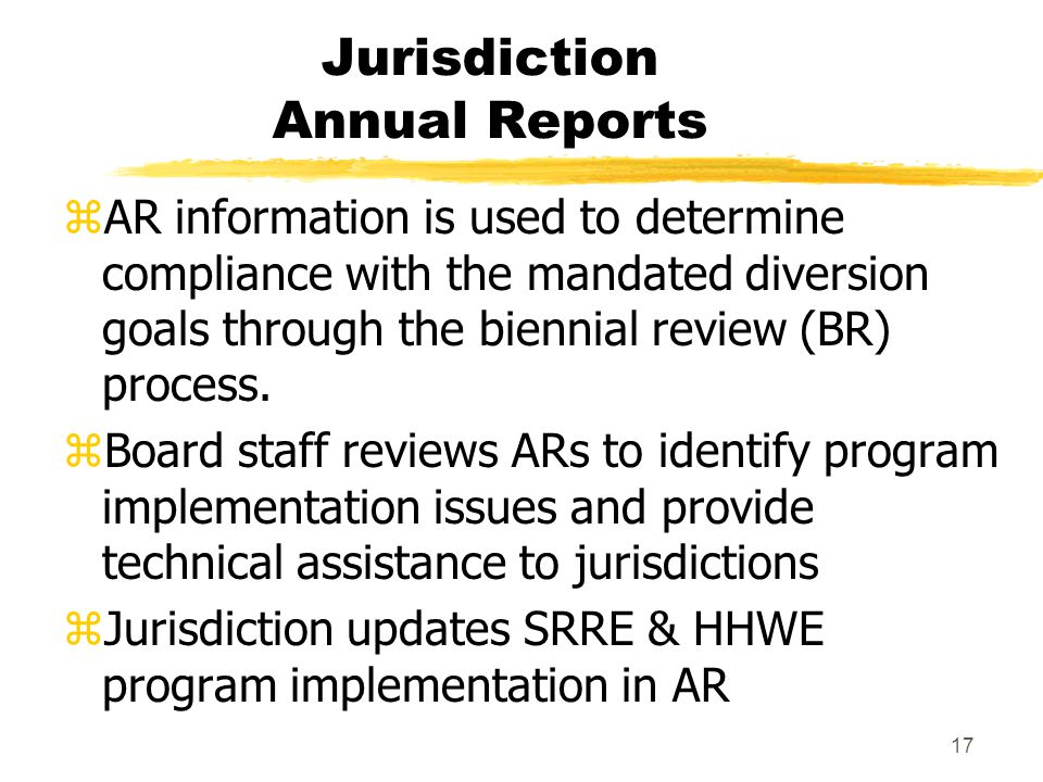 17 Jurisdiction Annual Reports zAR information is used to determine compliance with the mandated diversion goals through the biennial review (BR) proc