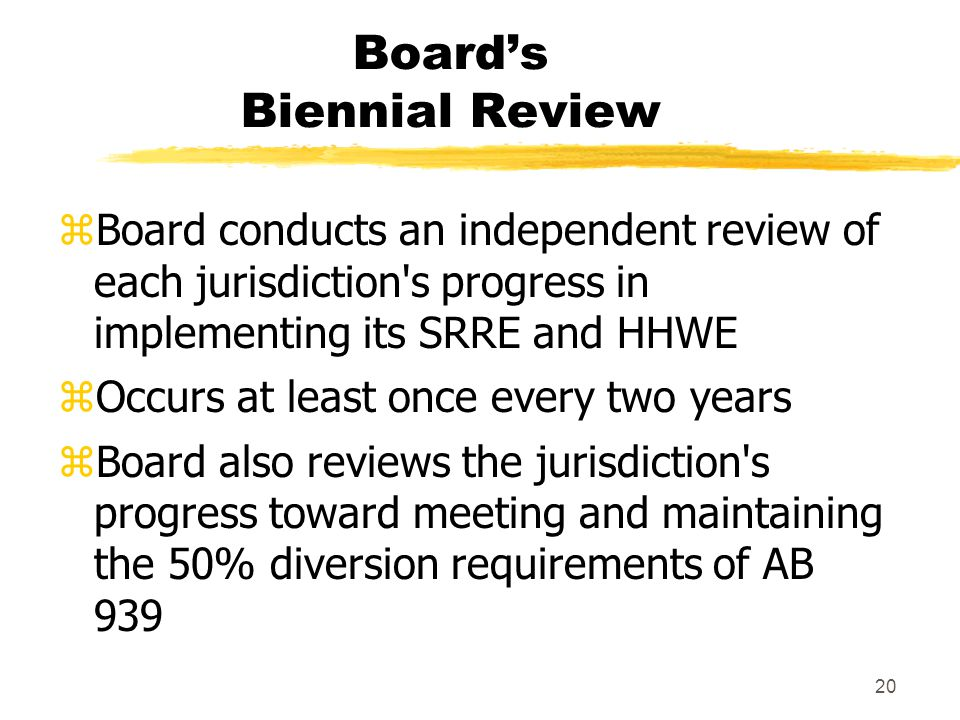 20 Board's Biennial Review zBoard conducts an independent review of each jurisdiction s progress in implementing its SRRE and HHWE zOccurs at least once every two years zBoard also reviews the jurisdiction s progress toward meeting and maintaining the 50% diversion requirements of AB 939