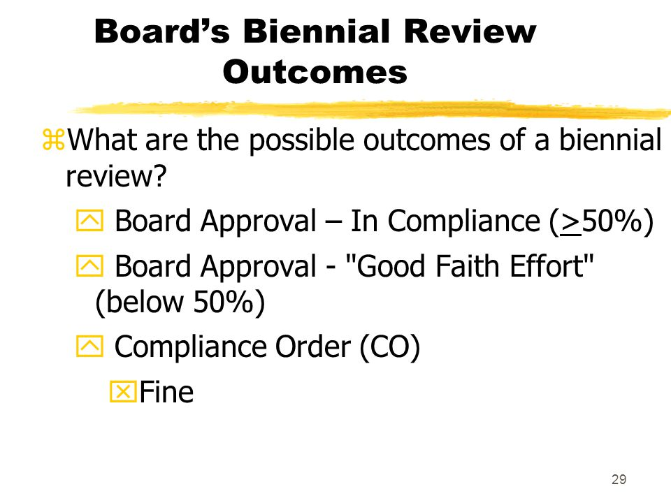 29 Board's Biennial Review Outcomes zWhat are the possible outcomes of a biennial review.