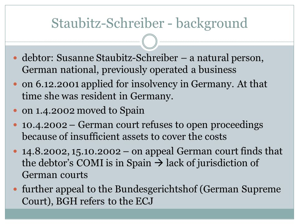 Staubitz-Schreiber - background debtor: Susanne Staubitz-Schreiber – a natural person, German national, previously operated a business on 6.12.2001 ap
