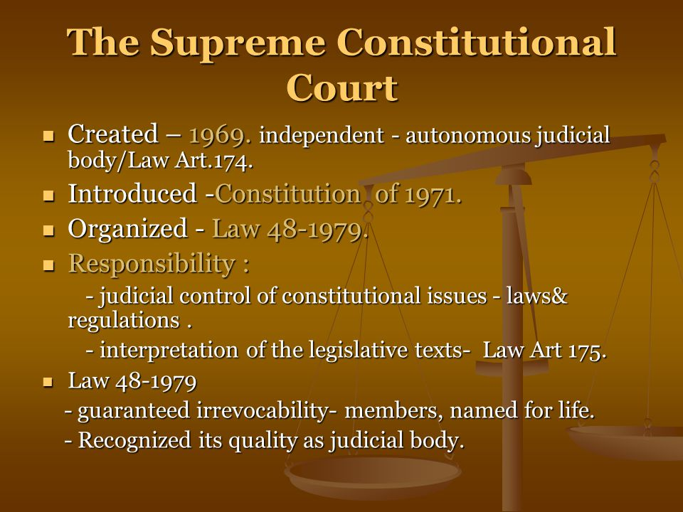 The Supreme Constitutional Court Created – 1969.