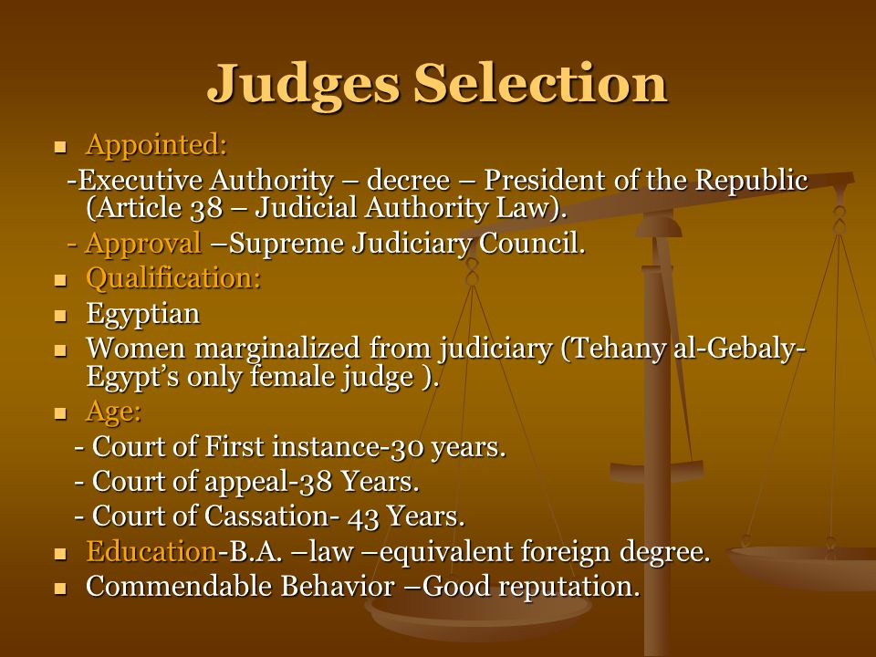 Judges Selection Appointed: Appointed: -Executive Authority – decree – President of the Republic (Article 38 – Judicial Authority Law).