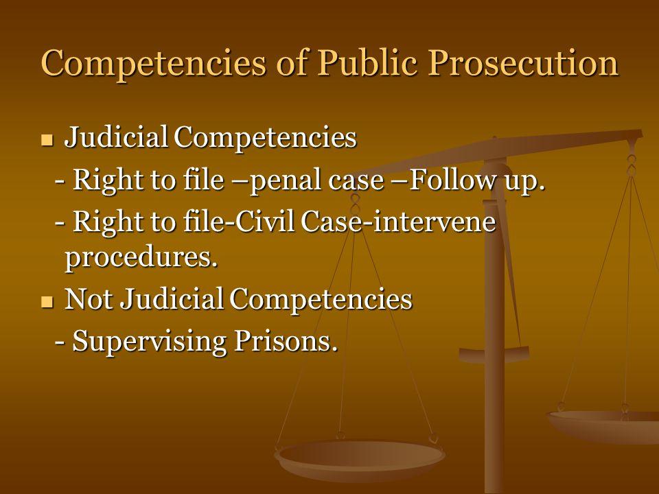 Competencies of Public Prosecution Judicial Competencies Judicial Competencies - Right to file –penal case –Follow up.