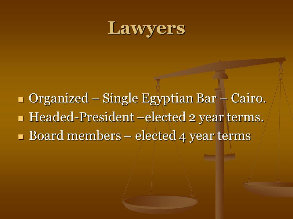 Lawyers Organized – Single Egyptian Bar – Cairo. Organized – Single Egyptian Bar – Cairo.