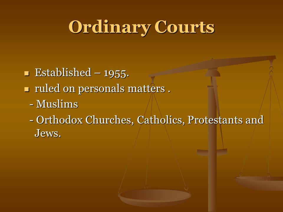 Ordinary Courts Established – 1955. Established – 1955.