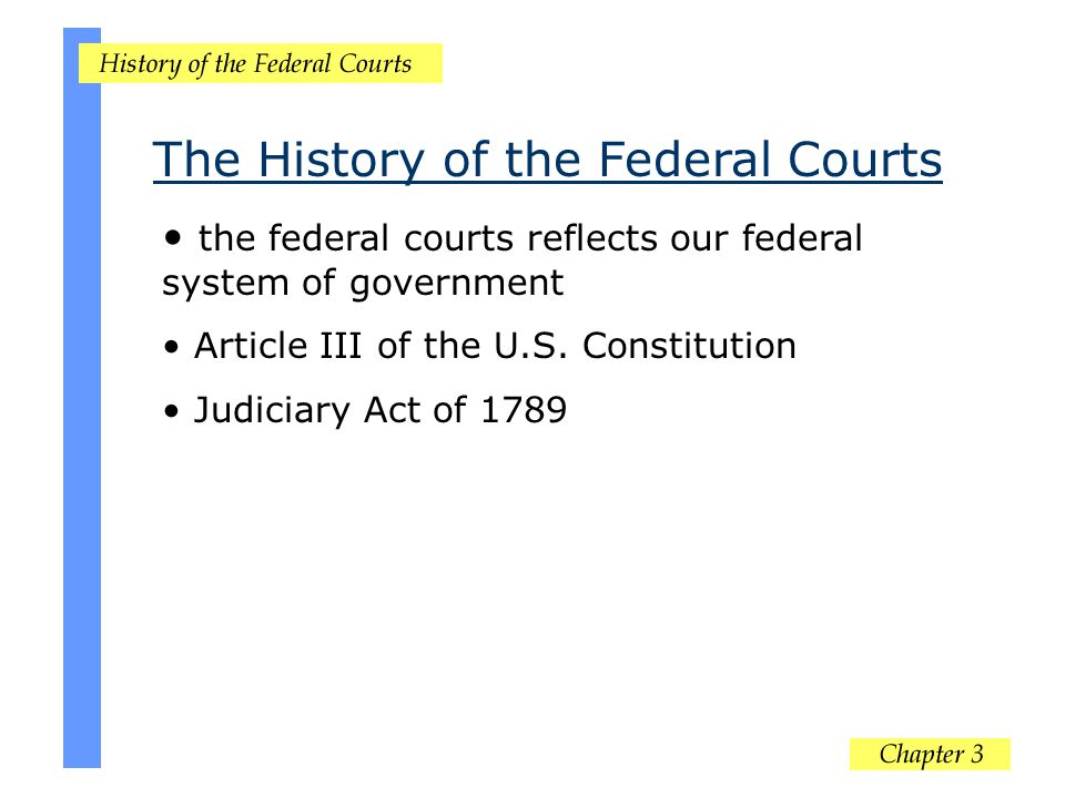 the federal courts reflects our federal system of government Article III of the U.S. Constitution Judiciary Act of 1789 The History of the Federal Cou