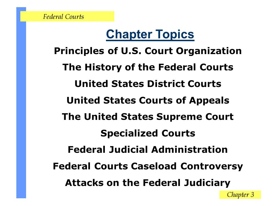 Chapter Topics Principles of U.S. Court Organization The History of the Federal Courts United States District Courts United States Courts of Appeals T
