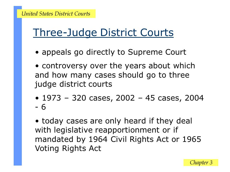appeals go directly to Supreme Court controversy over the years about which and how many cases should go to three judge district courts 1973 – 320 cas