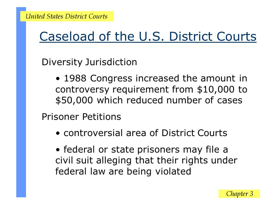 Diversity Jurisdiction 1988 Congress increased the amount in controversy requirement from $10,000 to $50,000 which reduced number of cases Prisoner Pe
