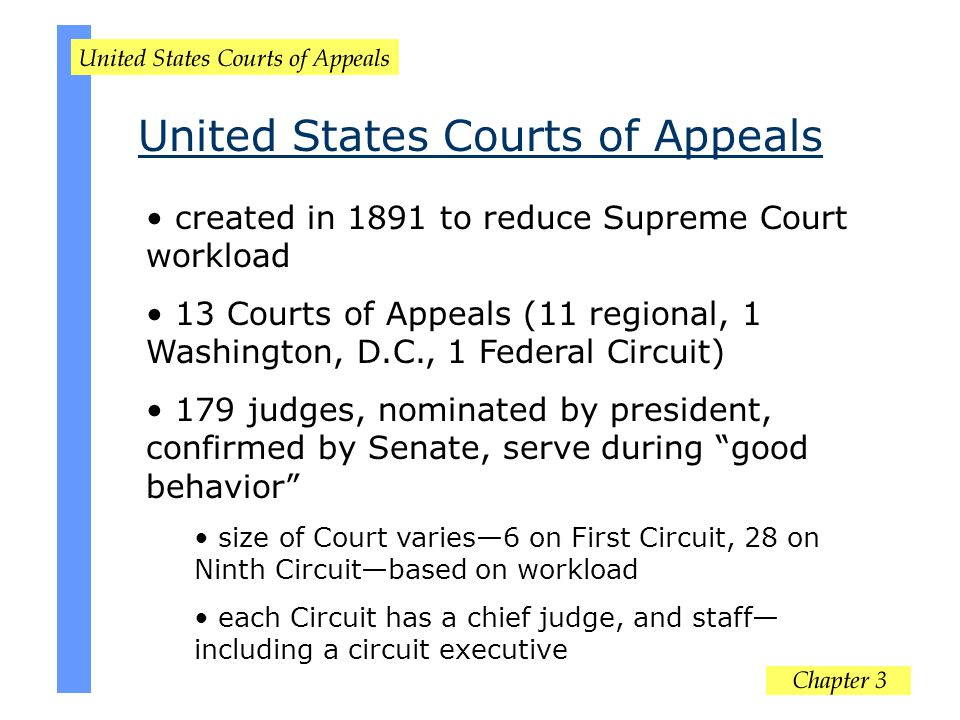 created in 1891 to reduce Supreme Court workload 13 Courts of Appeals (11 regional, 1 Washington, D.C., 1 Federal Circuit) 179 judges, nominated by pr